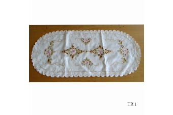 Cream Embroidered Doilies Table Runner TR1