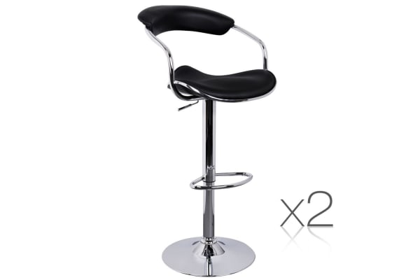 Set of 2 PU Leather Steel Frame Kitchen Bar Stool (Black)