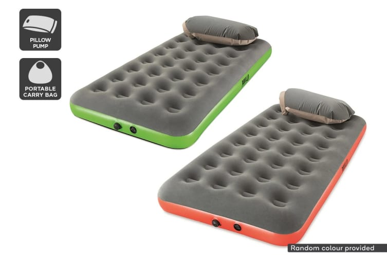 Single Flocked Air Bed with Pillow Pump