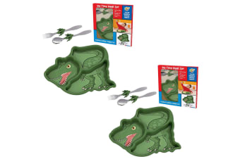 2x Kids Funwares Me Time Meal Spoon Plate Fork Dinosaur Children Kids Dinner Set