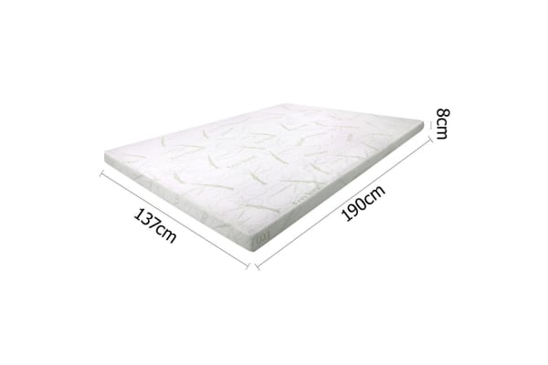 Cool Gel Memory Foam Mattress Topper with Bamboo Fabric Cover 8cm (Double)