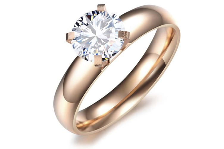 Solitaire Engagement Crystal Ring Made With Crystal Elements-Rose Gold/Clear Size US 8