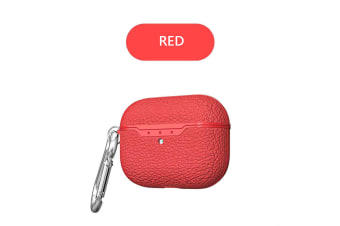 For Apple AirPods Pro Case Leather Texture shockproof Slim AirPod 3 Cover-Red