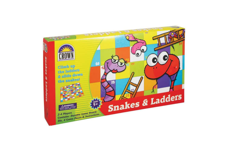 Crown Snakes & Ladders Board Family Fun/Traditional Game Kids/Child 5y+ Toy Set