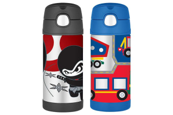 2pc Thermos Funtainer 355ml Insulated Stainless Steel Drink Bottle Vehicle Ninja