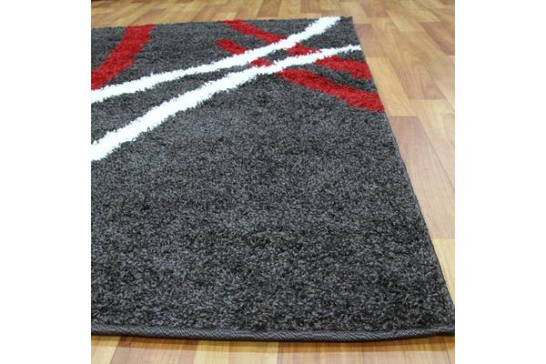 Modern Shag Rug Charcoal Red White 230x160cm