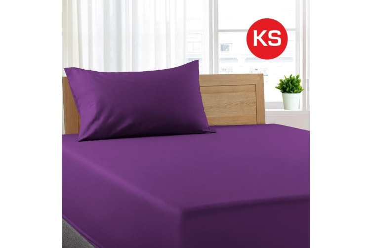 King Single Size Purple Color Poly Cotton Fitted Sheet + Pillowcase