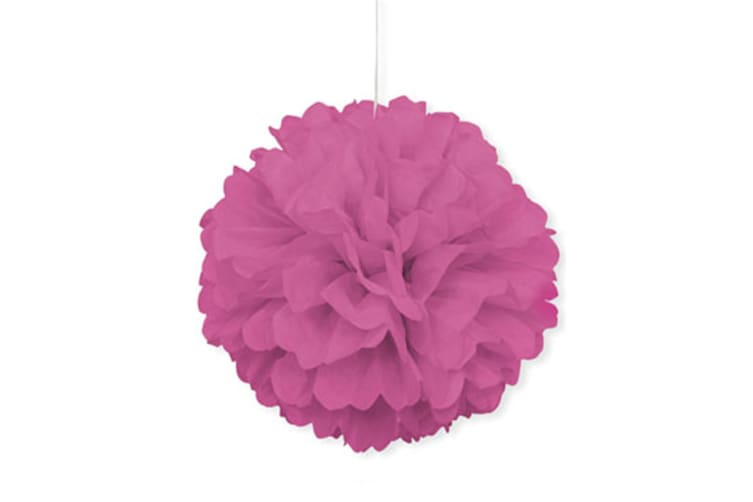 Unique Party Puff Balls Party Decoration (16in) (Hot Pink) (One Size)