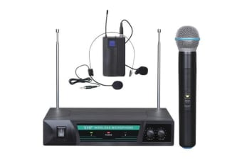 Wireless Microphone Vhf Dual Channel Handheld + Headset Mic Tjp-Hl52