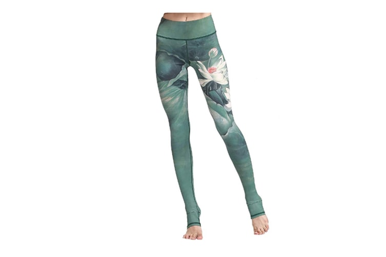 Women'S Printed Leggings High Waist Ligthweight Stretch Workout Yoga Pants Green Xl