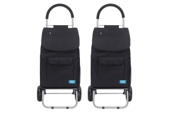 2x White Magic 3 in 1 40L Shopping Hand Trolley Dolly Carry Bag Foldable Cart BK