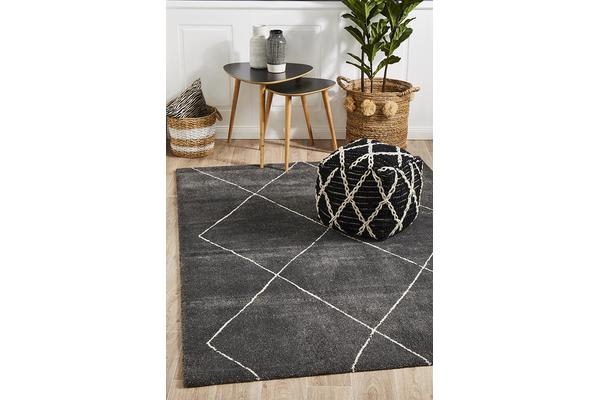 Carter Charcoal & Ivory Soft Contemporary Rug 230x160cm
