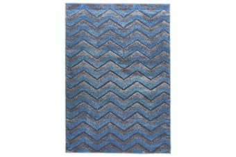 Modern Chevron Design Rug Blue Grey 330x240cm