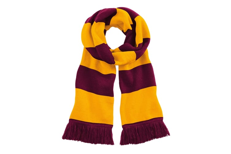 Beechfield Adults Unisex Varsity Scarf (Oxblood/Gold) (One Size)