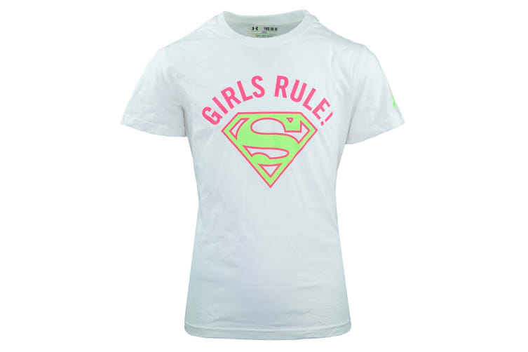 Under Armour Girls' Girls' Rule T-Shirt (White/Pink/Green, Size L)