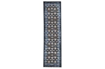 Royal Kashan Designer Runner Rug Blue Navy