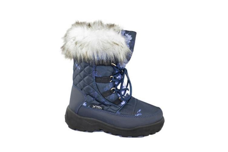 XTM Kid Female All Terrain Boots & Shoes Inessa Girls Boot Navy Floral - 31-32