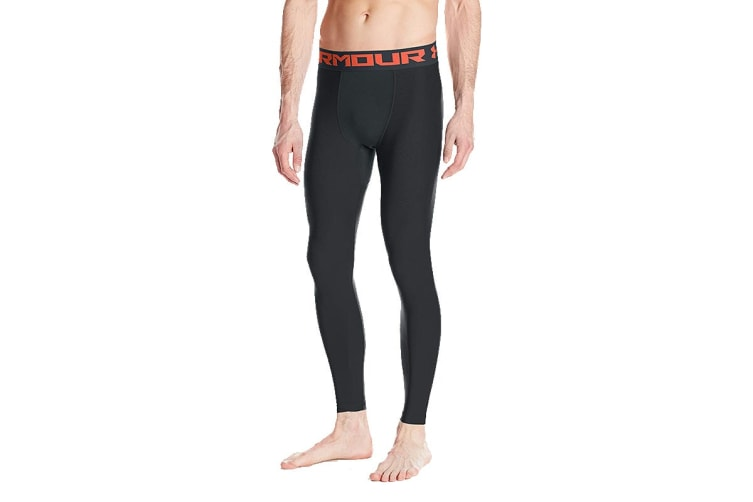Under Armour Men's HeatGear Armour Compression Leggings (Anthracite/Neon Coral, Size Medium)