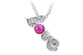 Young Love Necklace w/Swarovski Crystals-White Gold/Pink