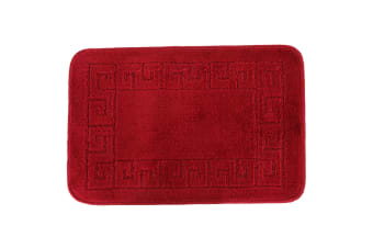 Euroban Small Rectangular Swirl Bath Mat (Red) (40 x 60cm)
