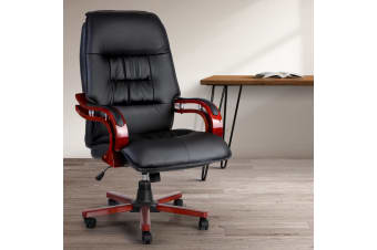 Artiss Executive Wooden Office Chair Wood Computer Chairs Leather Seat Sierra