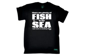 Drowning Worms Fishing Tee - There Are Plenty Of Fish In The Sea - (4X-Large Black Mens T Shirt)