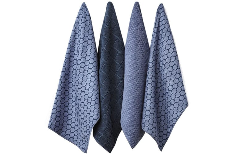 Ladelle Honeycomb Microfibre 4 Pack Teatowels - Blue