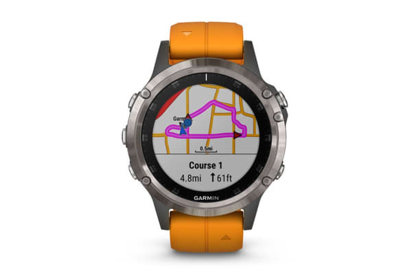 Garmin Fenix 5 Plus Sapphire Edition Titanium with Solar Flare Orange Band