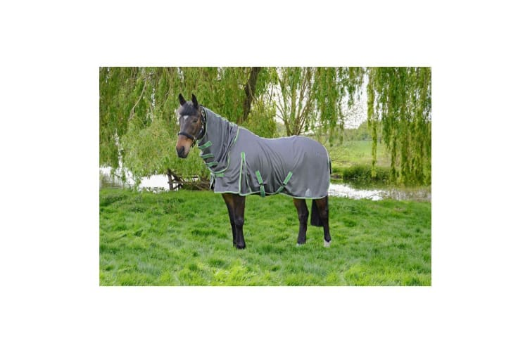 Hy Protect Full Neck Fly Rug (Charcoal Grey/Mint) (6ft)