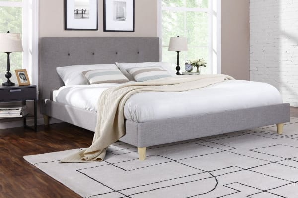 Ovela Bed Frame - Sonata Collection (Light Grey, Double)