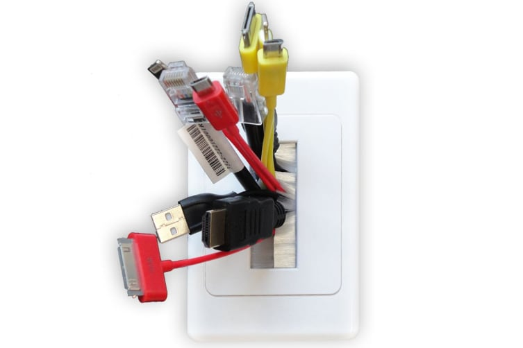 20X Wall Plate Wallplate W/Brush Outlet Cover For Cable Lead Organiser - White