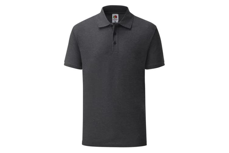 Fruit Of The Loom Mens Tailored Poly/Cotton Piqu Polo Shirt (Dark Heather) (S)