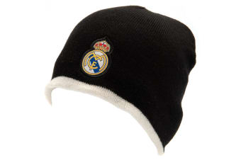 Real Madrid FC Official Adults Unisex Reversible Knitted Hat (Black/White)