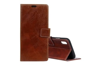 For iPhone XS MAX Case Retro Wild Horse Texture Leather Wallet Phone Cover Brown