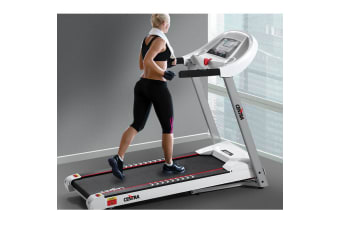 CENTRA Electric Treadmill Auto Incline Home Gym Exercise Machine Fitness Quiet  -  AUTO & White