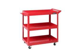 Giantz Tool Cart 3-Tier Parts Steel Trolley Mechanic Storage Organizer Red