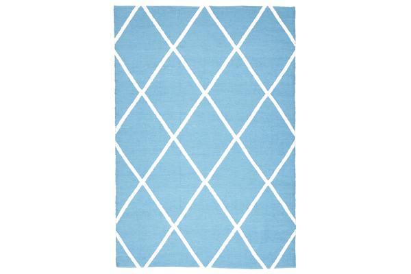 Coastal Indoor Out door Rug Diamond Turquoise White 220x150cm