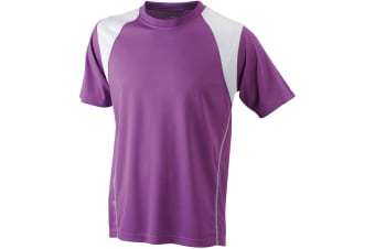 James and Nicholson Mens Running Tee (Purple/White) (3XL)