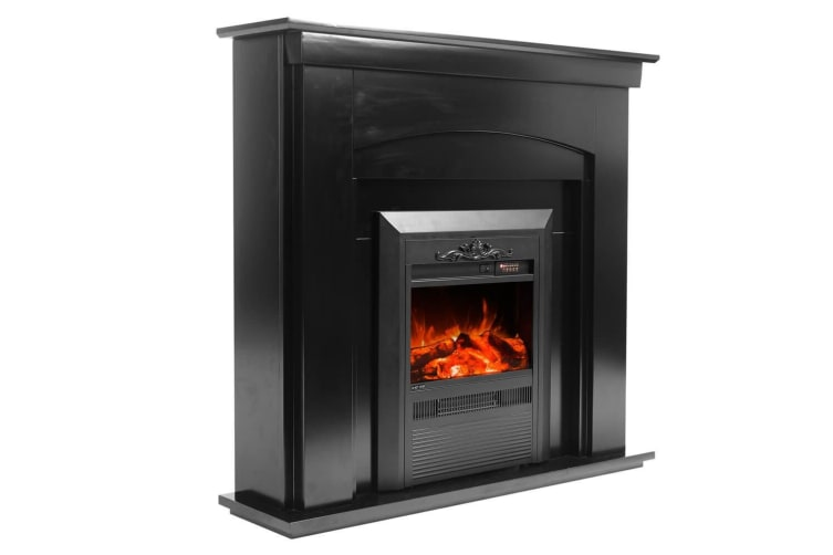 Luxo Nuri 2000W Electric Fireplace Mantel & Heater - Black