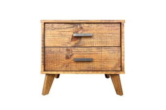 Cob&Co 2 Drawer Bedside Table (Rustic Wood)