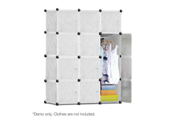 12 Cube Storage Cabinet with Hanging Bar (White)