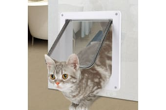 4 Way Lockable Locking Pet/Cat/Small Dog Flap Door in White Size Large
