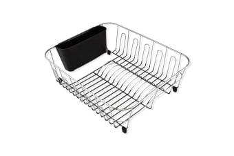 D.line Dish Rack Cutlery Utensil Caddy Drainer Drying Tray Chrome & PVC