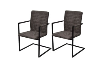 vidaXL Dining Chairs 2 pcs Cantilever Brown