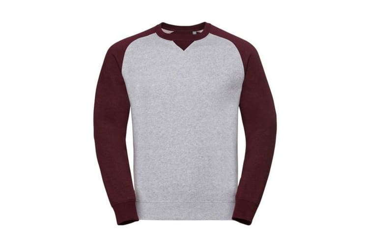 Russell Mens Authentic Baseball Sweatshirt (Light Oxford/Burgundy Melange) (3XL)
