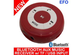 Handsfree Bluetooth Car Kit Aux Music Receiver + Tf Card / Usb Input Pt-750 Red