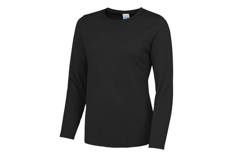 AWDis Just Cool Womens/Ladies Girlie Long Sleeve T-Shirt (Jet Black) (S)