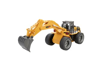 Remote Control Excavator Digger w/ Light Flexible Arm Mini Model Toy for Kids