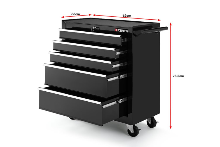 Certa Toolbox Storage Cabinet Trolley 5 Drawer