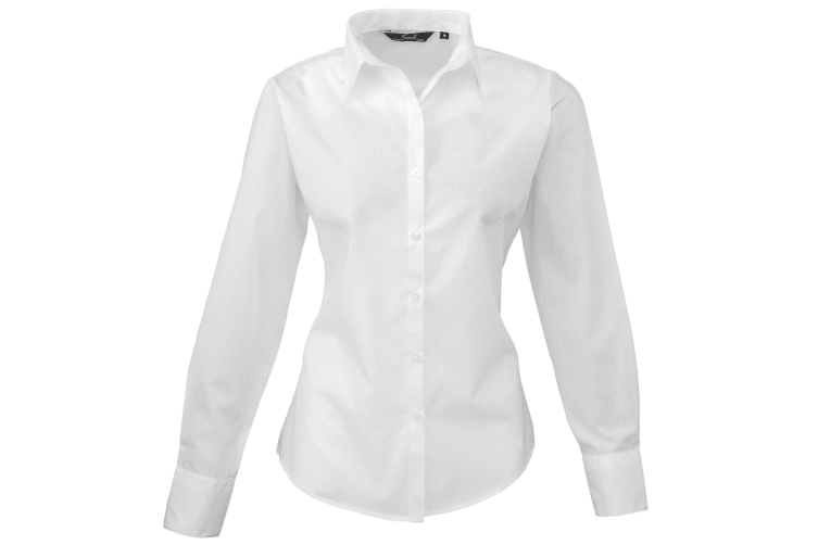 Premier Womens/Ladies Poplin Long Sleeve Blouse / Plain Work Shirt (White) (18)